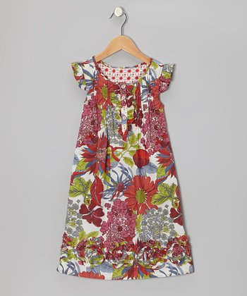 Red Wild Floral Beachside Dress - Girls