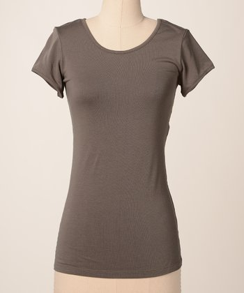 Gunmetal Favorite Scoop Neck Tee