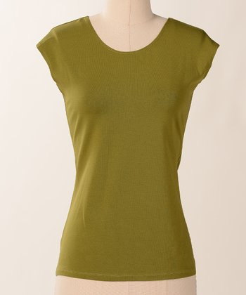 Calla Favorite Cap-Sleeve Scoop Neck Tee