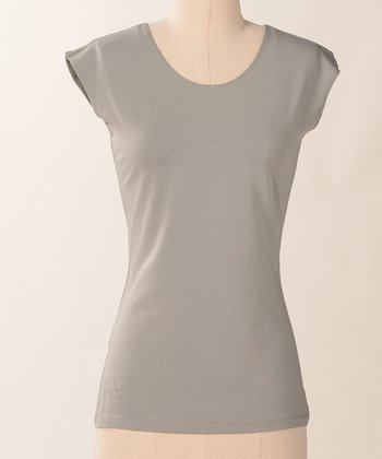Neutral Favorite Cap-Sleeve Scoop Neck Tee