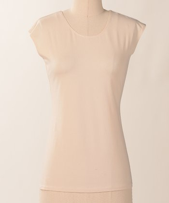 Parchment Favorite Cap-Sleeve Scoop Neck Tee