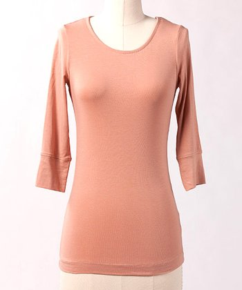 Pink Three-Quarter Sleeve Top