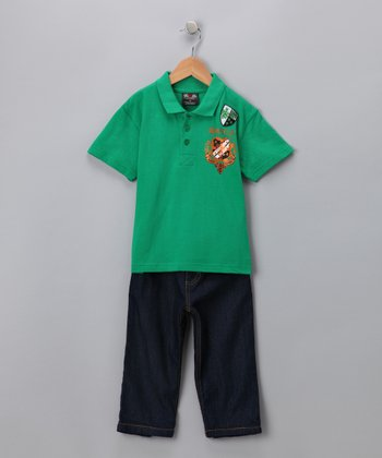 Kelly Green Polo & Jeans - Toddler