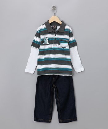 Gunmetal Layered Polo & Jeans - Toddler & Boys