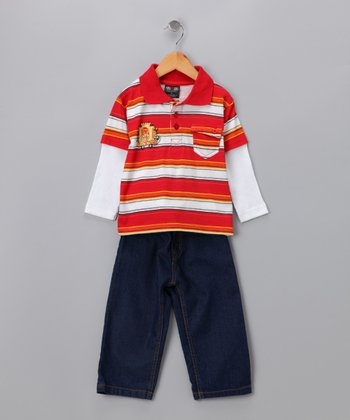 Athletic Red Layered Polo & Jeans - Toddler & Boys