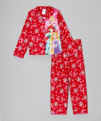 Red Snowflake Princess Pajama Set - Girls