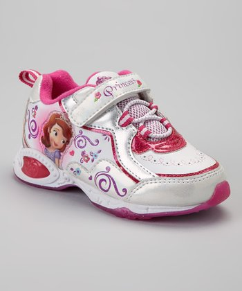 White & Pink Sofia the First Sneaker - Toddler & Kids