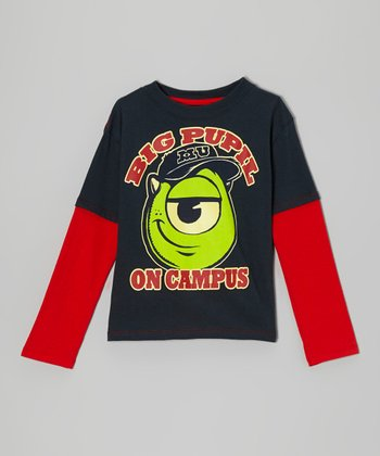 Blue & Red 'Big Pupil on Campus' Layered Tee - Toddler