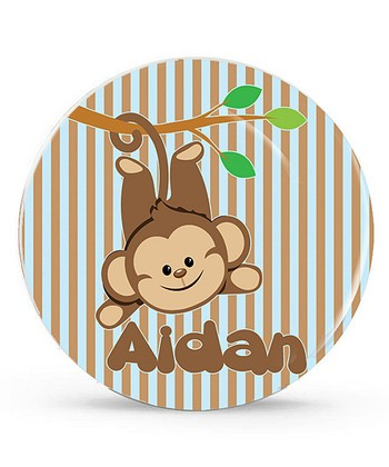 Brown Monkey Personalized Plate