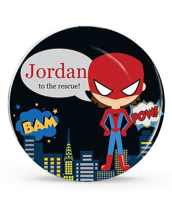 Brown-Haired Spidey Superhero Personalized Plate