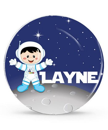 Fair Black-Haired Astronaut Personalized Plate