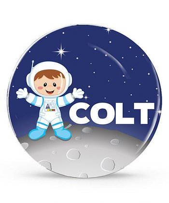 Brown-Haired Astronaut Personalized Plate