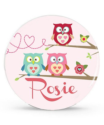 Pink Owl Personalized Plate