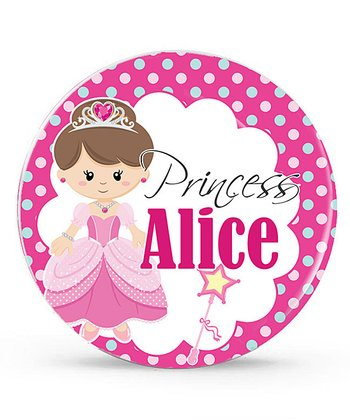 Brown-Haired Princess Personalized Plate