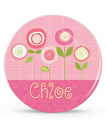 Pink Flower Personalized Plate