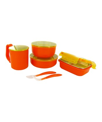 Orange Travel Feeding Set