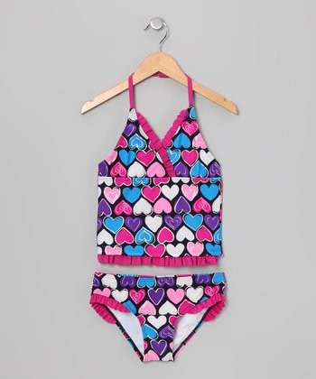 Pink & Turquoise Heart Tankini - Toddler & Girls