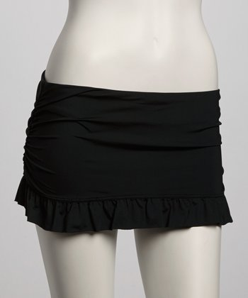 Black Ruched Skirted Bikini Bottom