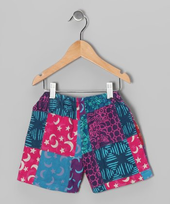 Dark Blue & Pink Patchwork Shorts - Toddler & Girls