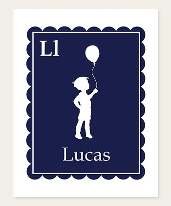 Navy Balloon Scallop Personalized Print