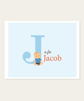 Blue Wispy Brown-Haired Baby Personalized Print