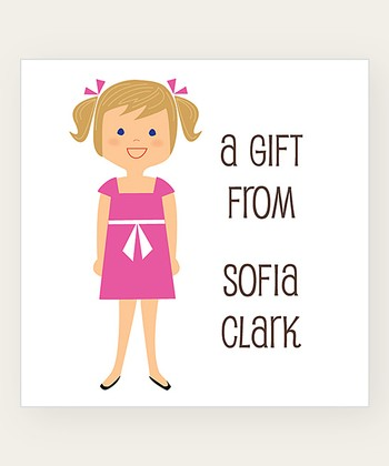 Dark Blonde Pigtails Personalized Gift Label - Set of 40