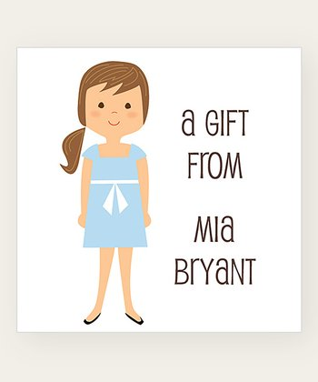Brown Ponytail Personalized Gift Label - Set of 40