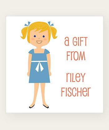 Strawberry Blonde Pigtails Personalized Gift Label - Set of 40