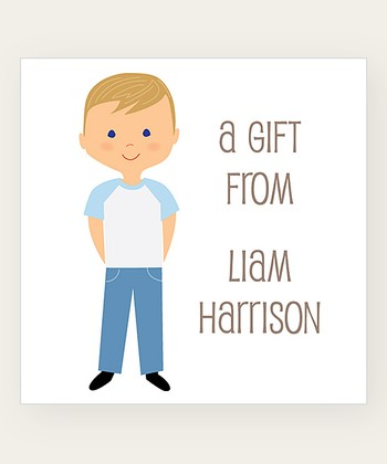 Dark Blonde Straight Hair Boy Personalized Gift Label - Set of 40