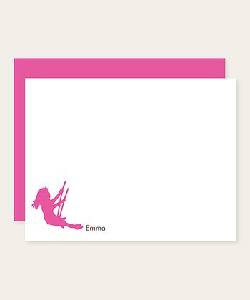 Fuchsia Swing Personalized Note Card Set