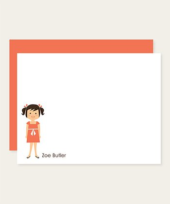 Black Pigtails Personalized Note Card Set