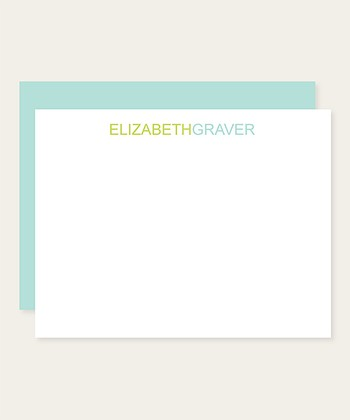 Blue & Green Type Personalized Note Card Set