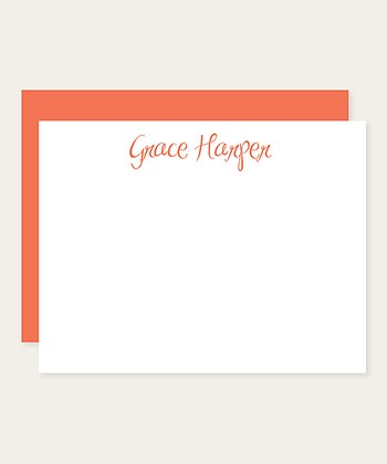 Papaya Cursive Personalized Note Card Set