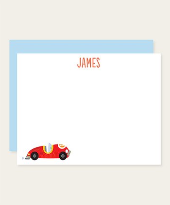 Racecar Personalized Note Card Set