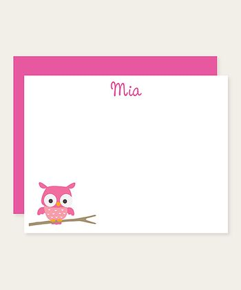 Pink Owl Personalized Note Card Set