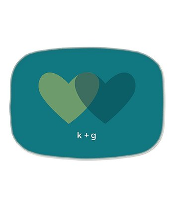 Teal Hearts Personalized Platter