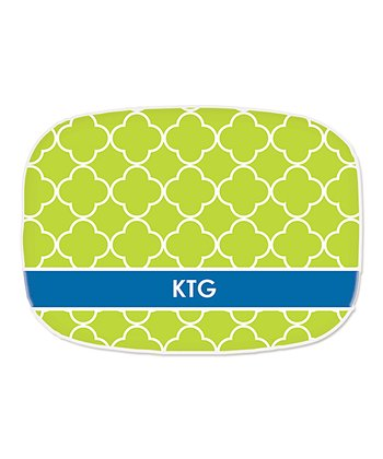 Green Quatrefoil Personalized Platter