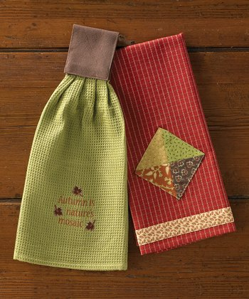 Red & Green Autumn Hand Towel Set