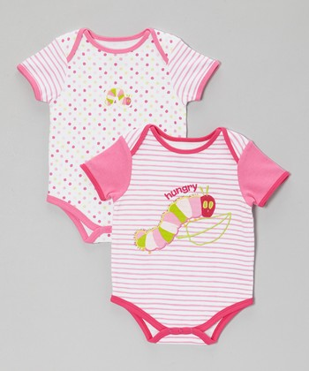 Pink & White Caterpillar Bodysuit Set - Infant