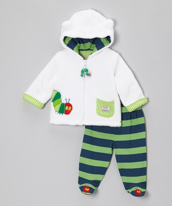 Blue & Green Caterpillar Plush Jacket & Footie Pants - Infant