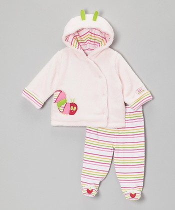 Pink & Lime Caterpillar Plush Jacket & Footie Pants - Infant