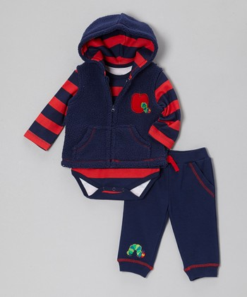 Blue & Red Apple Plush Vest Set - Infant