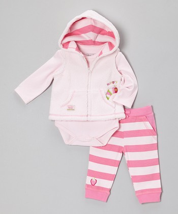 Pink Caterpillar Plush Vest Set - Infant