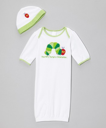 White & Green Caterpillar Knit Gown & Beanie - Infant