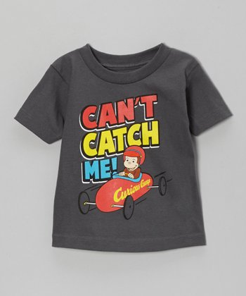Charcoal Curious George 'Can't Catch Me!' Tee - Toddler