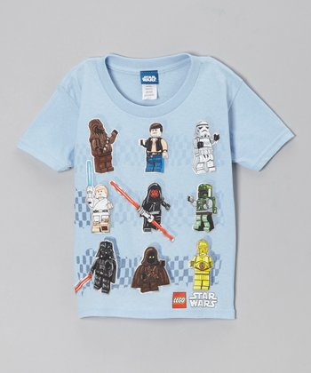 Light Blue Lego Star Wars 9 Characters Tee - Kids