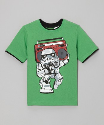 Green Stormtrooper Boom Box Tee - Boys