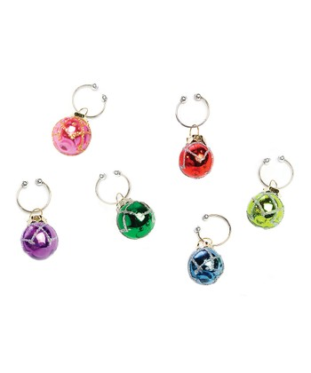 Vintage Ball Wine Charm Set