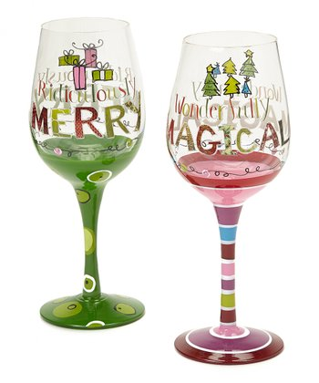 Quirky Hand-Painted Wineglass Set