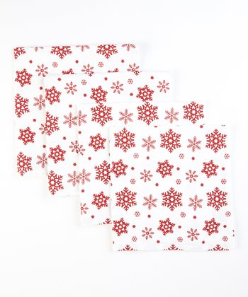Snowflake Printed Napkin - Set of Four